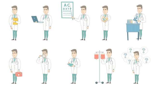 Junger kaukasischer doktorzeichensatz