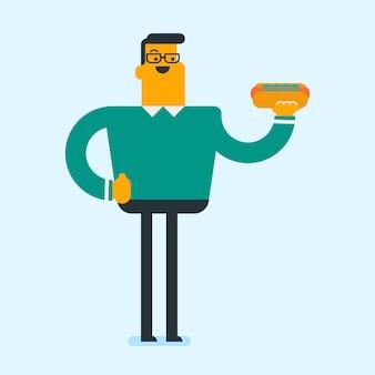 Junger kaukasischer froher mann, der hamburger isst.