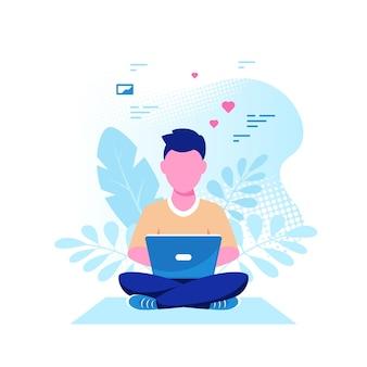Junger kaukasischer mann, der auf dem boden sitzt und an laptop arbeitet. freiberuflich, fernarbeit, online-studium, arbeit von zu hause aus. flache art-vektor-illustration.