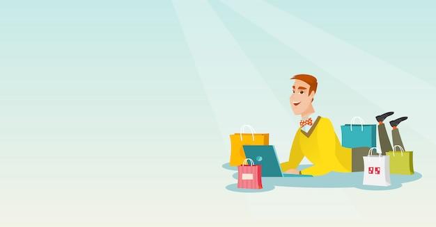 Junger kaukasischer mann, der das on-line-einkaufen tut.