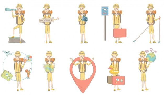 Junger kaukasischer reisenderzeichensatz