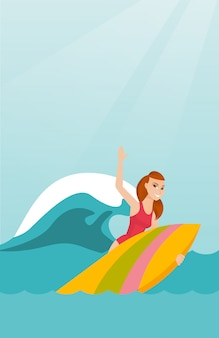 Junger kaukasischer surfer in der aktion auf einem surfbrett