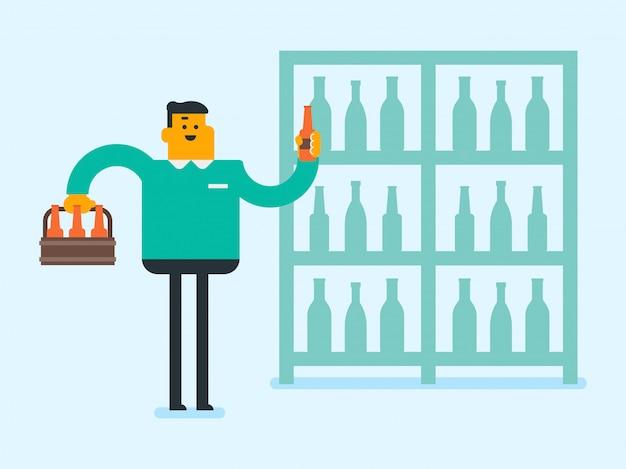 Junger kaukasischer weißer mann am alkoholspeicher.