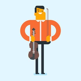 Junger kaukasischer weißer mann, der violine spielt.