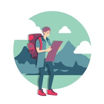Junger kaukasischer weißer reisender junger mann mit einem rucksack, der karte betrachtet. reisender mann, der die richtige richtung auf einer karte sucht. vektorkarikaturillustration.