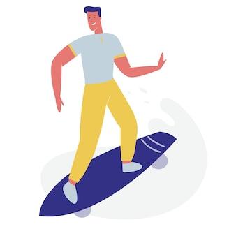 Junger kerl in altmodischem kleidungs-reitskateboard.