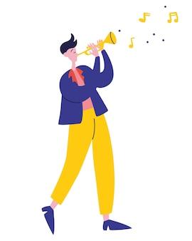 Junger kerl spielt trompete jazzmusik mann spielt melodie musiker goldene trompete