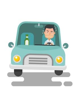 Junger kerl trinkend und betrunkenes fahren