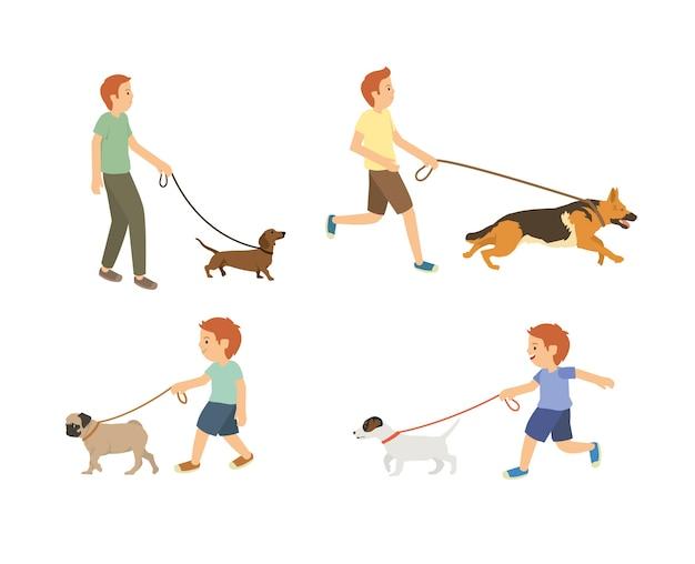 Junger kerl und kinder, die mit hundevektorsatz gehen
