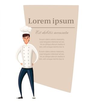 Junger koch. illustration auf weißem hintergrund. zeichentrickfigur . lächelnder mann. platzieren sie den text auf einer braunen fläche