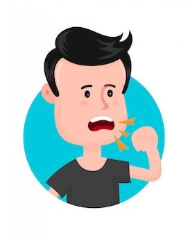 Junger kranker mann husten. halsentzündung. moderne flache artzeichentrickfilm-figur-illustration des vektors. isoliert