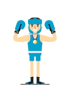 Junger lächelnder boxer gewinnen goldmedaille