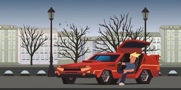 Junger lächelnder kerl, der im roten rennwagen auf herbststadthintergrund sitzt. reisender in der natürlichen umgebung. abbildung horizontal.