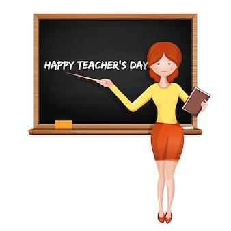 Junger lehrer an der tafel mit der aufschrift - happy teacher's day. illustration
