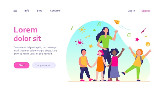 Junger lehrer mit freudigen kindern isoliert. cartoon glückliche kinder im kindergarten oder in der schule. pädagogik- und bildungskonzept