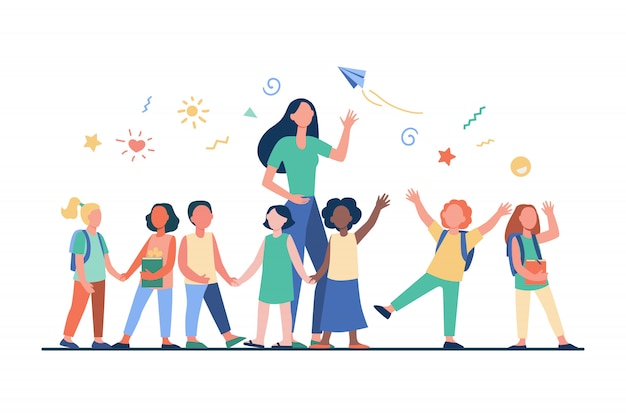 Junger lehrer mit freudigen kindern