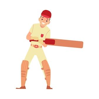 Junger männlicher cricketspieler kämpft gegen fledermaus, flache illustration des sportvektors.