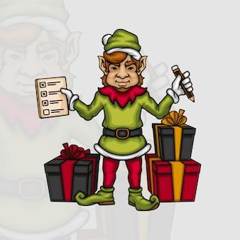 Junger männlicher elf mit einer checkliste der geschenkboxen