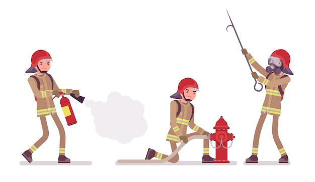Junger männlicher feuerwehrmann im dienst