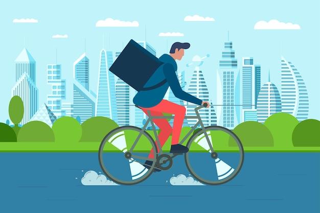 Junger männlicher kurier mit rucksack-box, der fahrrad fährt und waren und lebensmittelpakete auf der modernen stadtstraße trägt. schneller fahrrad-öko-bestellservice. vektor-illustration