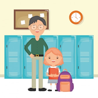 Junger männlicher lehrer mit studentenmädchen in der schule
