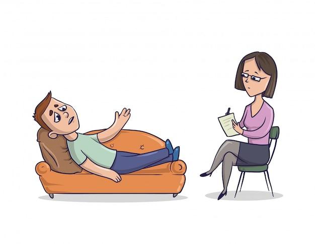 Junger mann an der rezeption beim psychologen oder psychotherapeuten. mann liegt auf einer couch und spricht über probleme.