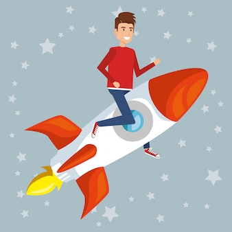 Junger mann auf dem raketencharakter