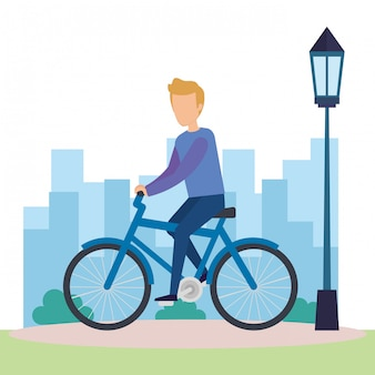 Junger mann auf fahrradcharakter
