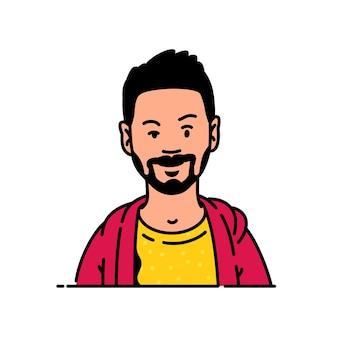 Junger mann-avatar im minimalistischen stil ein hipster mit bart ist der charakteristische charakter für das logo Premium Vektoren