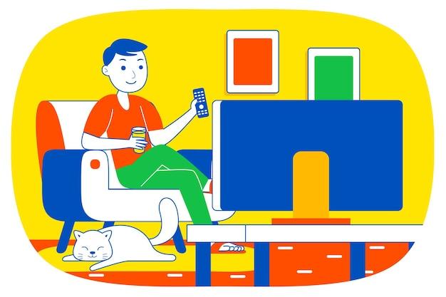 Junger mann beim fernsehen.