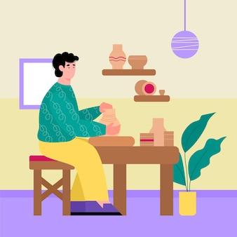 Junger mann beschäftigt sich mit keramikkunst, die keramikgeschirr im werkstattinnenraum herstellt, flache karikaturvektorillustration. menschenhandwerk und interessantes hobby.