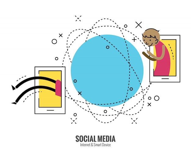Junger mann bewegt sich auf eine andere seite des globus von smartphone. social media konzept. flache dünne linie design-elemente. vektor-illustration