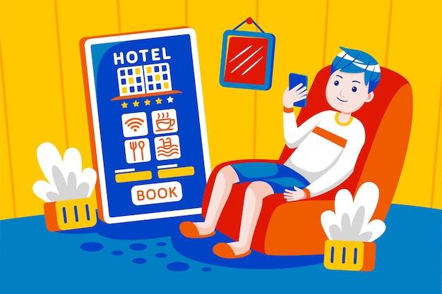 Junger mann bucht hotel online mit mobiler app.