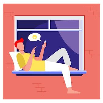 Junger mann, der am fenster liegt und über telefon plaudert. smartphone, soziale medien, kerl flache vektorillustration. kommunikation und digitale technologie
