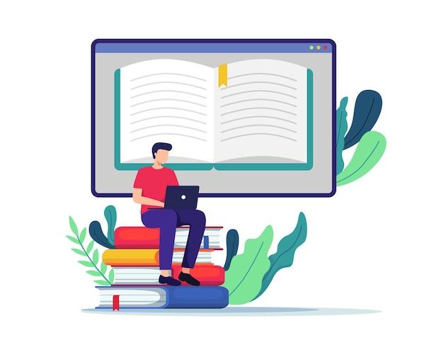 Junger mann, der am test arbeitet, schreibt, bücher liest. student, der online-kurse sieht, zu hause studiert. im flachen stil