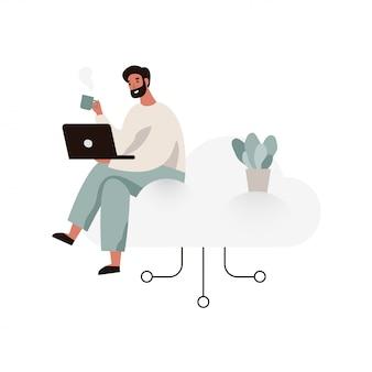 Junger mann, der an einem laptop arbeitet und auf einer wolke sitzt. illustration des cloud-speicherkonzepts im flachen stil.