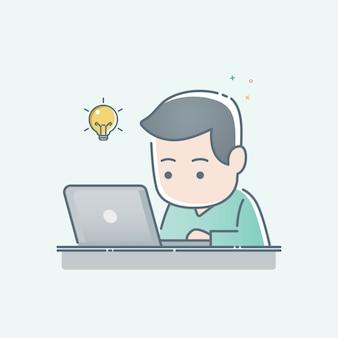 Junger mann, der an laptop-computer sitzt und arbeitet
