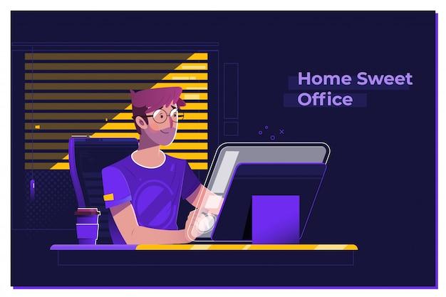 Junger mann, der an modernem dachbodenbüro nachts arbeitet