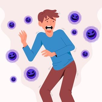 Junger mann, der angst vor der coronavirus-krankheit hat
