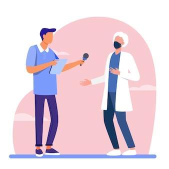 Junger mann, der arzt in maske interviewt. mikrofon, quarantäne, reporter flache vektorillustration. pandemie und schutz
