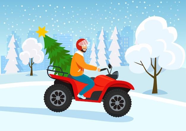 Junger mann, der atv mit weihnachtsbaum reitet. winterwaldlandschaft. vektorgrafik im flachen stil