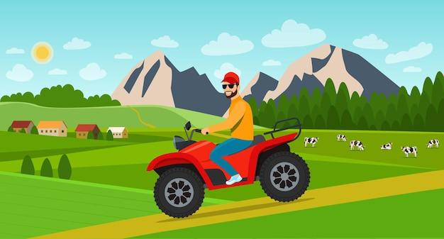 Junger mann, der auf dem atv-motorrad in der sommerlandschaft mit dorf reitet. vektor-illustration