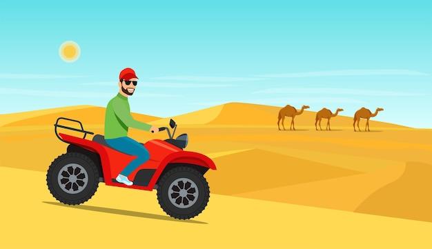 Junger mann, der auf dem atv-motorrad in der wüste reitet. vektor-illustration