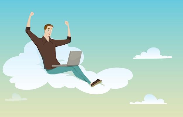 Junger mann, der auf der wolke schaut seinen computer sitzt