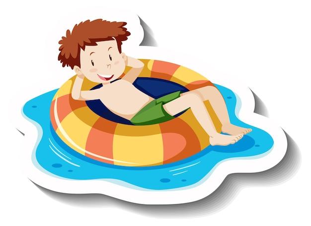 Junger mann, der auf einem schwimmring-cartoon-aufkleber liegt