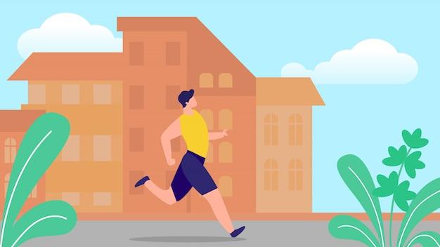 Junger mann, der auf stadtbild-hintergrund mit gebäuden am sommer läuft