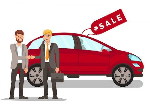 Junger mann, der auto-ebene kauft