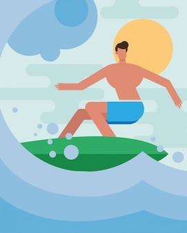 Junger mann, der badeanzug-surfcharakter trägt