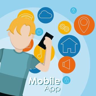 Junger mann, der bewegliche app smartphones verwendet