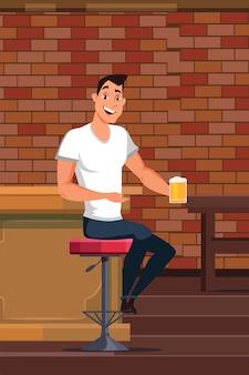Junger mann, der bier in der kneipe trinkt